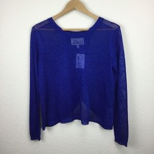 Aiko Blue Long Sleeve Shimmer Sweater Lurex NWT XS